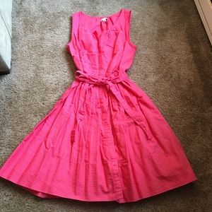 Hot pink fit and flare dress with tie bow waist
